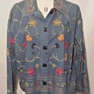 Studio Works Denim Jacket Lightweight Embroidered Size L