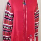 Quacke Factory Red Ugly Christmas Sweater Trees Snowflakes Size L