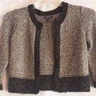 Apt. 9 Cardigan Sweater Black White w/Metallic Threads Open Front Sz  L Petite