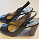 New Nine West Black Peep Toe Sling Back Black Patent Leather Block Heel Shoes Si