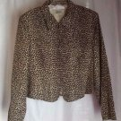 Petite Sophisticate 100% Silk Lined Animal Print Jacket Zip Front Size PS