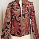 Coldwater Creek Blazer Paisley Tapestry Burgundy/Black/Ivory/Green Size XS