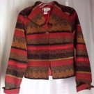 Coldwater Creek Multi Color Striped Jacket One Button Fully Lined Size PS