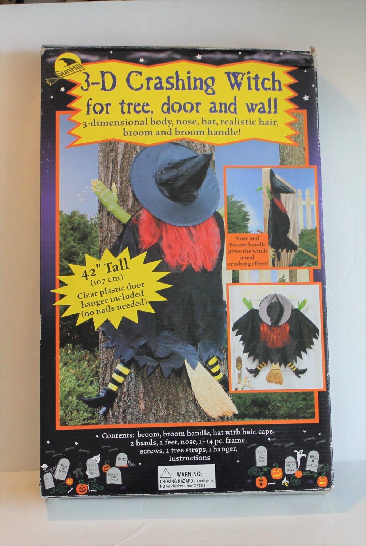 "Sunhill 3D Crashing Halloween Decor Witch 42"" tall Yard Decor Door Hanging"