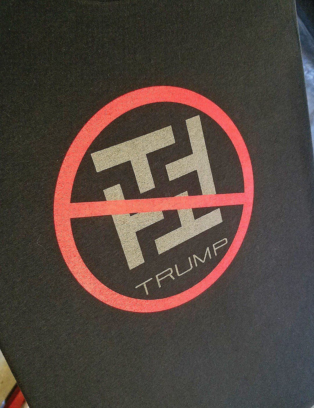 No Nazis No Trump - RESIST TRUMP FASCISM - Premium Sueded Shirt SIZE M