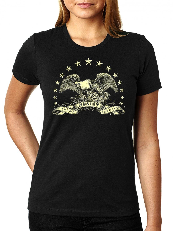 American Eagle Resistance Shirt - RESIST TRUMP FASCISM - Women's T Shirt SIZE S
