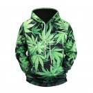 Green Leaves Printed Men's Hoodies.Sweater Shirt With Hood for Men