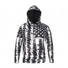 Graffiti Black and White American Flag Men's Polyester Hoodies, Sweater Shirt With Hood for Men