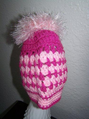 Child Ponytail Hat - Messy Bun - Pink & Pink