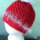 Ladies Ponytail Hat - Messy Bun - White and Red