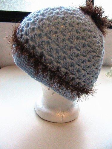 Ladies Ponytail Hat - Messy Bun - Blue and Brown