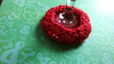 Red Sparkle - Wine Glass Coaster Cozies ~ PAIR