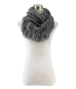 Striped Knitted Fringe Infinity Scarf
