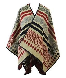 Reversible Tribal Print Ruana