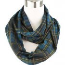 Deep Color Plaid Infinity Scarf