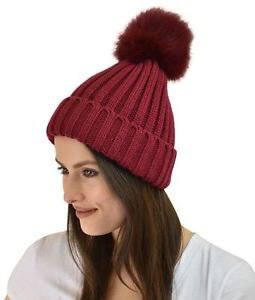 Knitted Beanie with Fur Pom Pom