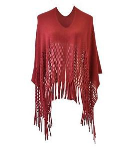 Classic Solid Color Knitted Fringe Poncho