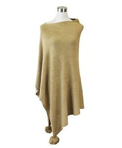 Solid Color Long Poncho with Pom Pom
