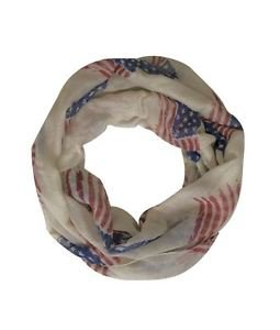 Nautral Vintage American Flag Print Infinity Scarf