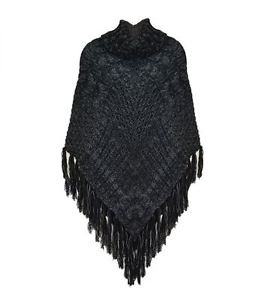 Two-Tone Cableknit Turtleneck Poncho with Tassel