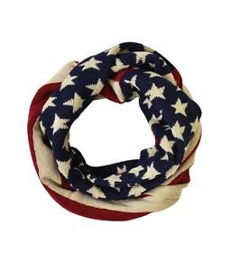 Knitted American Flag Print Infinity Scarf