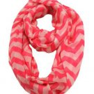 Modadorn Accessories Nautical Lightweight Chevron Infinity Scarf (Hot Pink) NIP