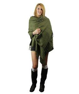 Modadorn Check Houndstooth Woven Soft Big Size Wrap Ruana Green/Gray.