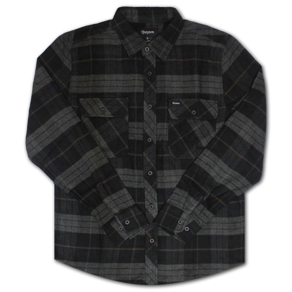 Brixton Bowery Flannel L/S Shirt Black Charcoal
