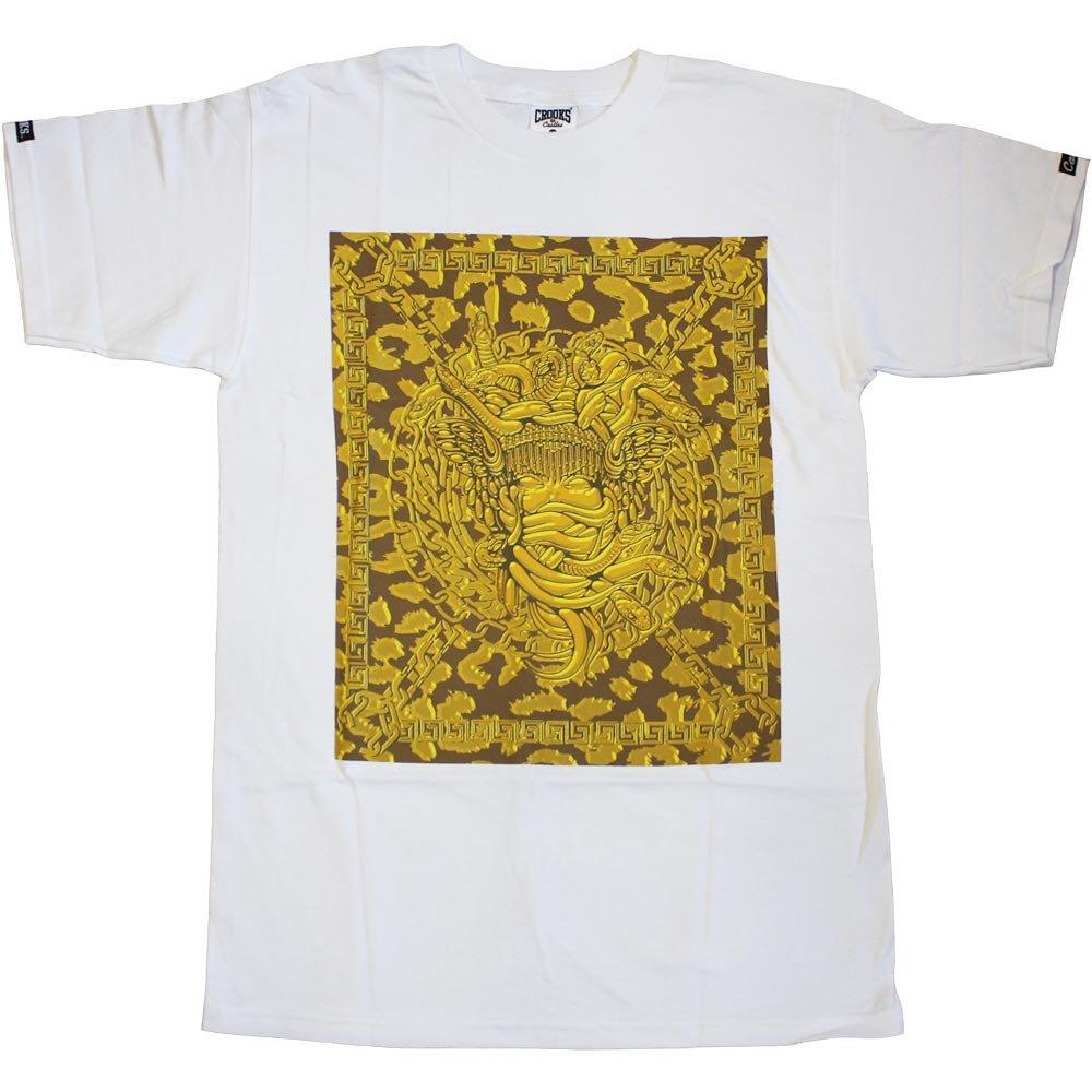 Crooks & Castles Square Medusa Crooks T-Shirt White Gold
