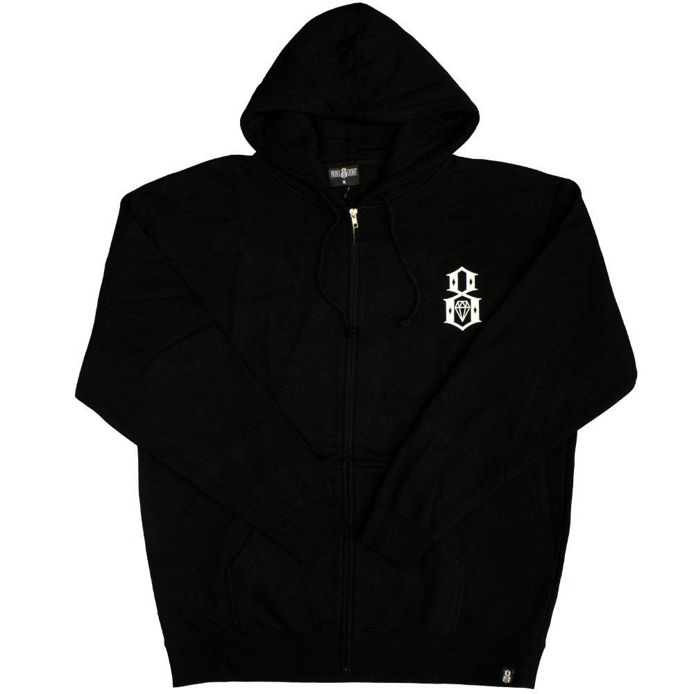 Rebel8 Logo Zip Up Hoodie Black