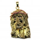18k Gold Plated XL Jesus Piece Pendant with Red CZ Crown 2.25 inches