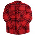 Brixton Bowery Flannel Shirt Red Black