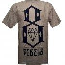Rebel8 Logo T-shirt Heather Grey Navy