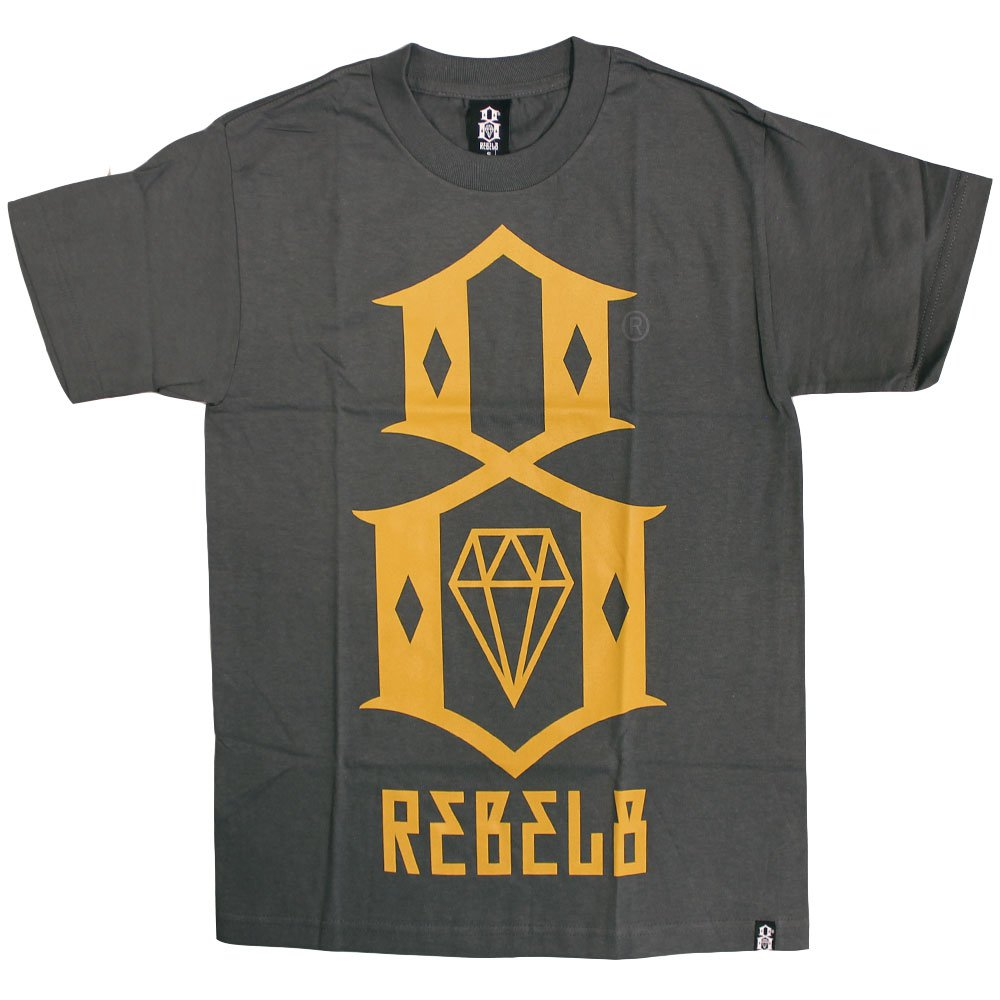 Rebel8 Logo T-shirt Charcoal Yellow