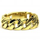 Mens 18k Gold Plated Stainless Steel Miami Cuban Bracelet 26mm x 9 inches