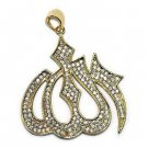 18k Gold Plated CZ Allah Pendant with 1.5mm Flat Franco Box Chain