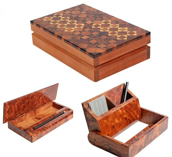 Pack of 3 Original handmade Thuya Wood for Table, desk from Essaouira Morocco