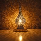 The Peacock shade :Handcrafted patterned Nickel plated copper lampshade /Morocco