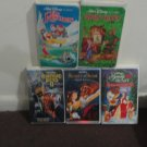 Lot of 5 WALT DISNEY Family Films VHS Tapes - The Rescuers - Robin Hood + More!