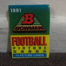 1 UNOPENED PACK of 1991 BOWMAN FOOTBALL CARDS, 14 CARDS in MINT CONDITION. LOOK!