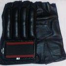 Leather Cut Finger Bag Mitts MMA Gloves Black NEW