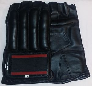Leather Cut Finger Bag Mitts MMA Gloves Black NEW