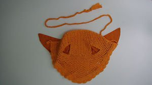NEW Equestrian Crochet Breathable Cotton Horse Ear Net Orange