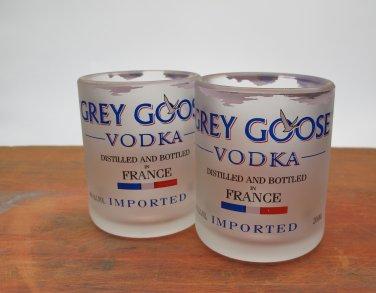 Grey Goose Cut Bottle Upcycled Shotglasses, Set of 2