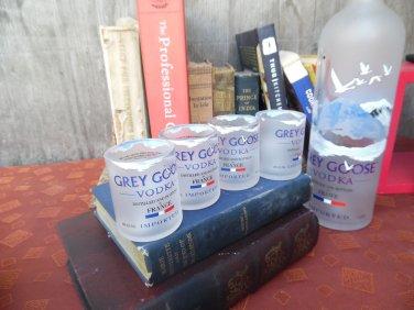 Grey Goose Bottle Upcycled Shot Glasses, Set of 4