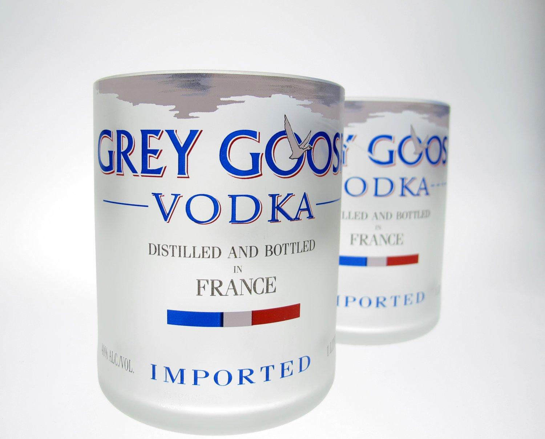 grey goose bottle 1l upcycled glass set 2. Black Bedroom Furniture Sets. Home Design Ideas