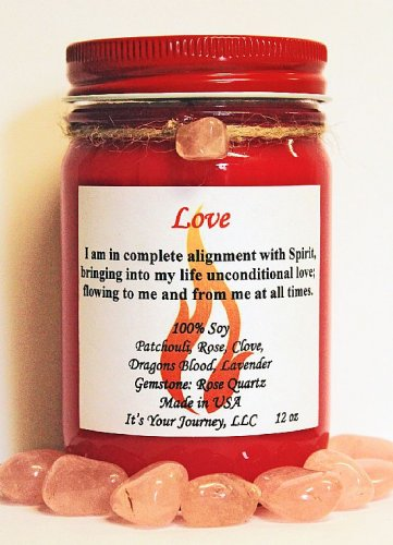 Intention Soy Jar Candle - Love ( Metaphysical / New Age / Pagan / Wicca / Magic )
