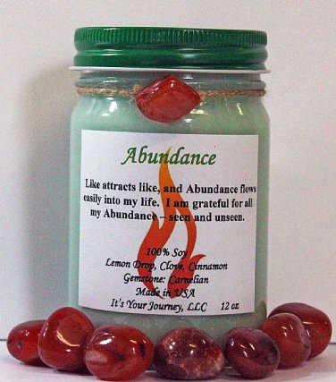 Hand Made Intention Soy Jar Candle - Abundance ( Metaphysical / New Age / Pagan / Wicca / Magic )