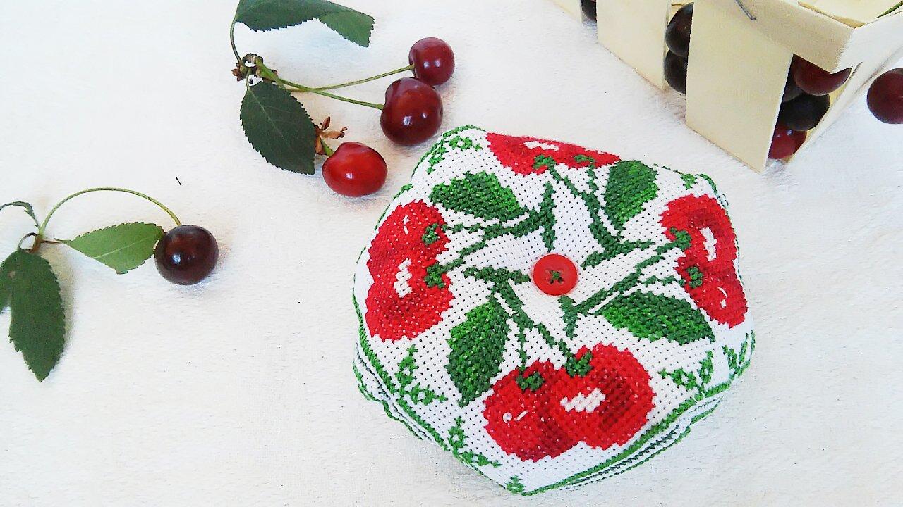 Biscornu, Cherry, Pincushion, Handmade gift, Home decor, Embroidery, Cute pincushion, Needle craft