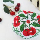 Biscornu, Cherry, Pincushion, Handmade gift, Home decor, Embroidery, Cute pincushion, Needle craft